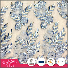 Good quality multicolor elegant hand embroidery design applique tulle fabric