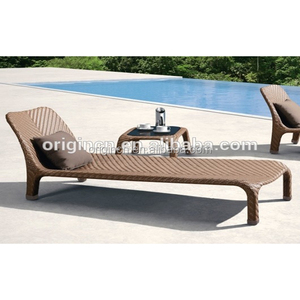 Resort hotel used classic rattan set pool chaise longue*2 with table*1 outdoor furniture cebu bed