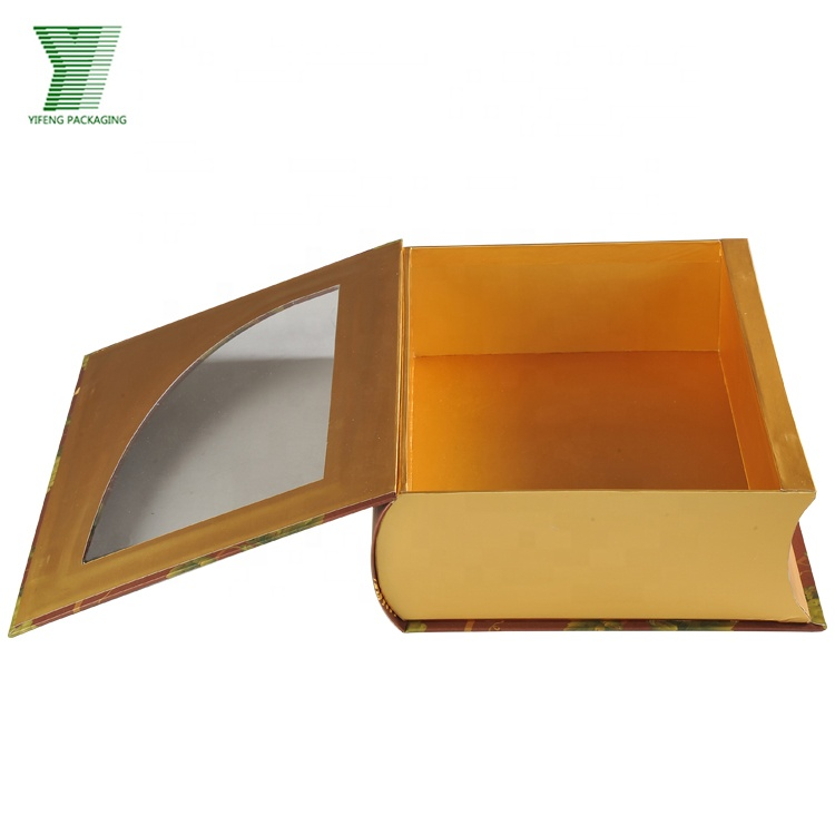 Customized wine packaging book shaped box with clear pvc window