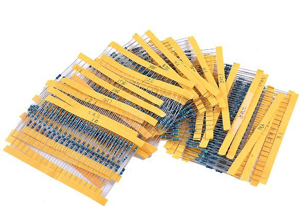 50 values 1000pcs1/4W Metal Film Resistors  1 ohm - 10M ohm Assortment Kit Resistance