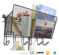 Black cheap liner metal wire storage basket with hook for home school office