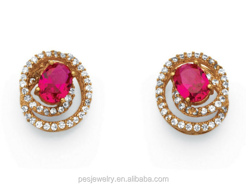 Created Ruby Swirl Design Rose Gold Plated Stud Earrings For Girl ...