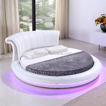 Maison Meubles Chambre A Mené La Lumière Grand Lit Rond Blanc Cy011
