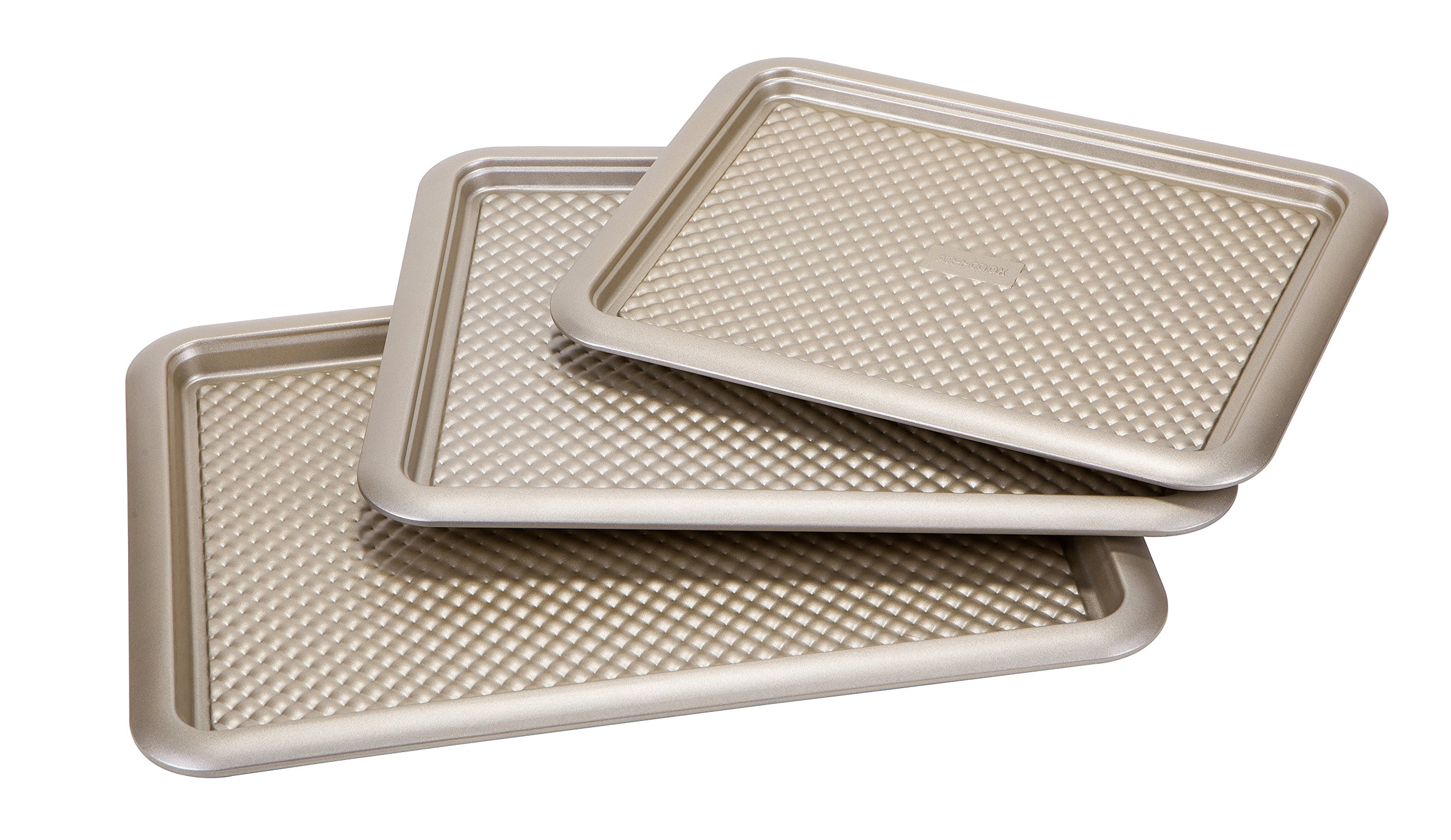 """Art and Cook 3 Piece Non-Stick Carbon Steel Cookie Sheet Set, 14.5"""" x 11""""/16"""" x 12.5""""/18"""" x 13"""", Champagne"""