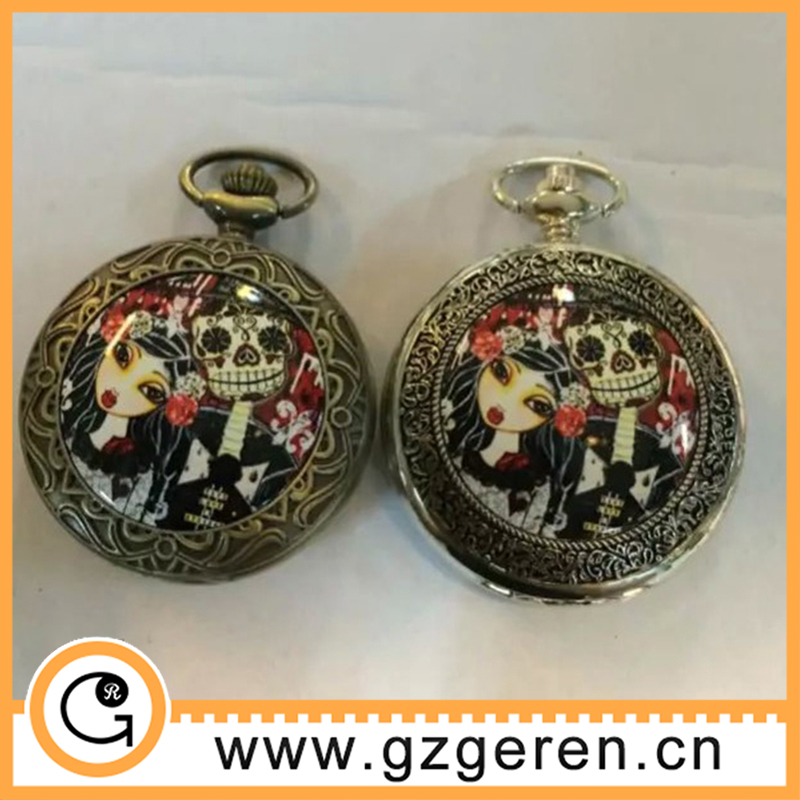 Halloween festival gift skull theme enamel custom pocket watch