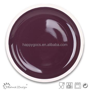 Purple Color Round Glossy Glaze Ceramic Platesround Color Nice