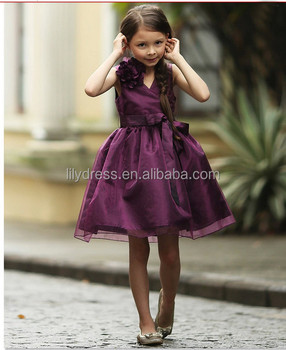 ea8b885381b4 A-Line Knee Length Zipper Back Purple Flower Girl Dress Birthday Dress  FGZ36 Girl Dress