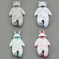 Hooded baby knitting baby jumpsuit zipper front kids cute animal clothes baby