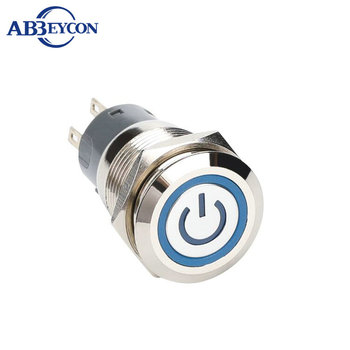 R 1946 19mm Flat round head momentary or latching ring LED switch power logo with connector
