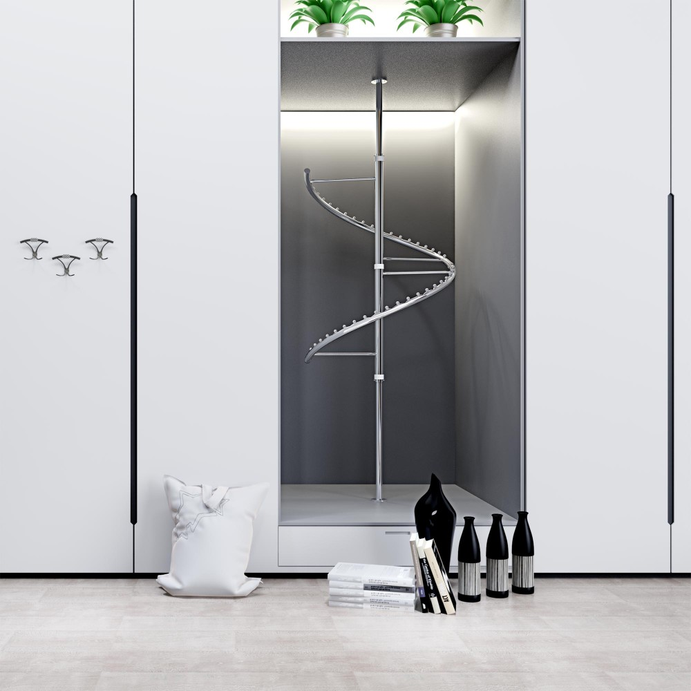 Wholesale Height Adjustable Stainless Spiral Closet Clothing Garment Rack