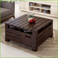 Modern Vintage Walnut Coffee Table with Storage/Oversized Coffee Table/Homex_BSCI