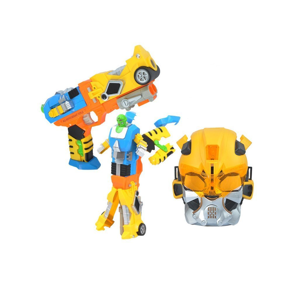 4inLoveMe Transformation Robot Cap Guns Blaster+Safety Goggles Mask Toy for Toddler Kids(Colors may vary)
