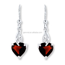 Ruby heart earring deisgn cheap crystal earring silver 925