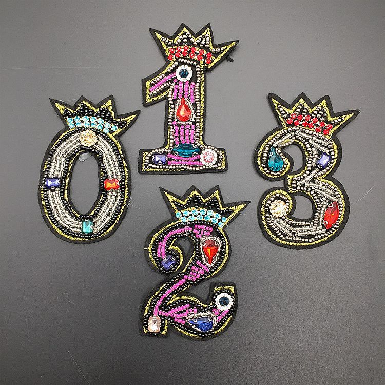 GUGUTREE handmade beaded embroidery sew on 0-9 numbers patches,embroidered pearls crystals star appliques,brooches