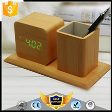 Wooden LED Alarm Clock With Thermometer Temp Date LED Display Calendars Electronic Digital Wooden Table Clock For Gifts