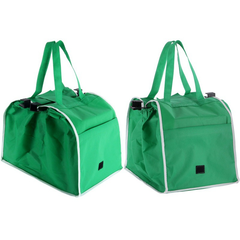 698d075d7 Green Shopping Bags Foldable Tote Handbag Reusable Trolley Clip To Cart  Grocery Shopping Bags