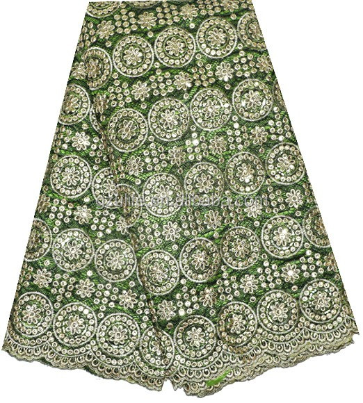 Green Wholesale african intorica african george fabric for Party Dresses(G1055)