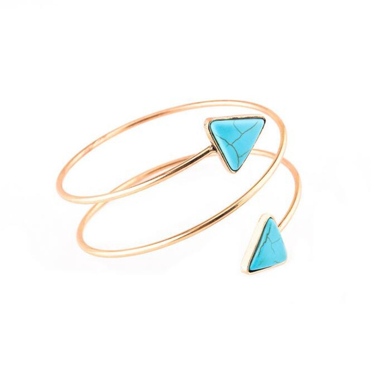 Gypsy Triangle Turquoise Gold Arm Cuff Armlet Armband Bangle Bracelet Jewelry