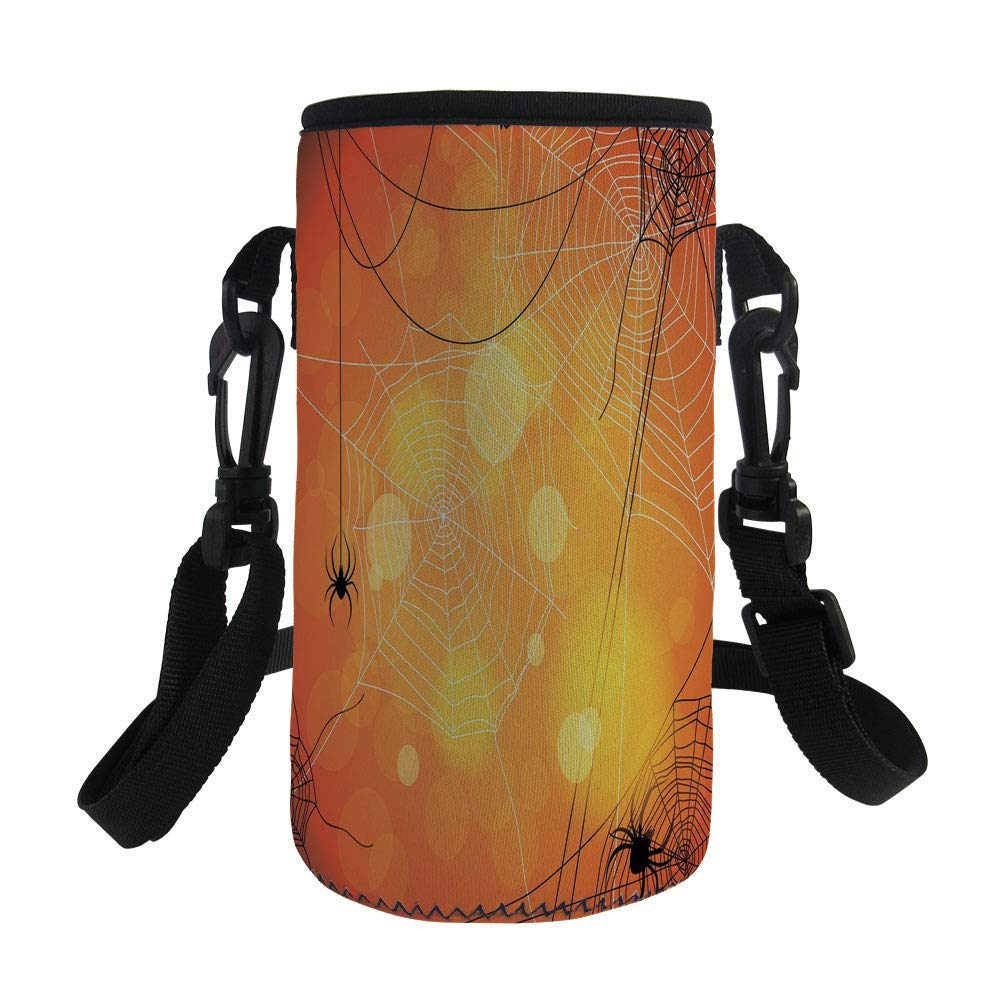 Small Water Bottle Sleeve Neoprene Bottle Cover,Halloween,Spiders Arachnid Insects Cobweb Thread Trap on Abstract Bokeh Backdrop Decorative,Orange Yellow White,Great for Stainless Steel and Plastic/Gl