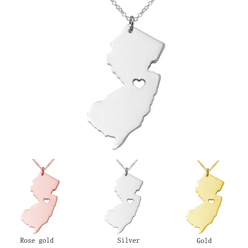 2019 New Arrival Hot Sale Statement US Map Pendant Necklace Rose Gold Color New Jersey Map Necklace For Girls