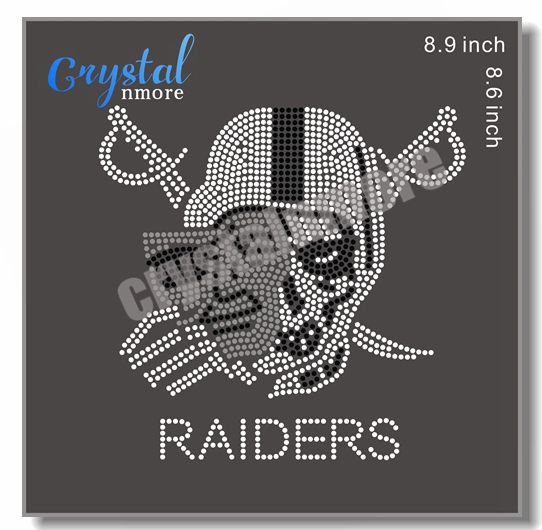 Raiders Rhinestone Hot Fix Transfer Iron On