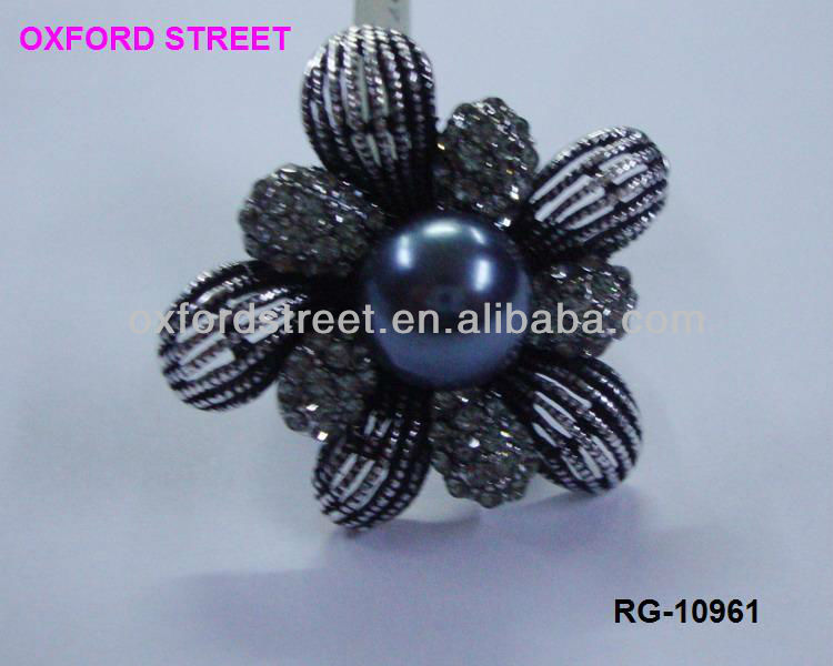 New product lady's alloy pearl flower ring