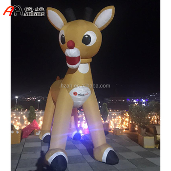 Xmas Giant Inflatable Reindeer Animated Rudolph Red Nosed Reindeer