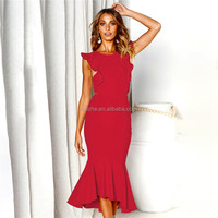 2019 European and American Women's Spring and Summer New Sleeveless Fishtail Slim Dress women's sexy backless deep V strap Dress
