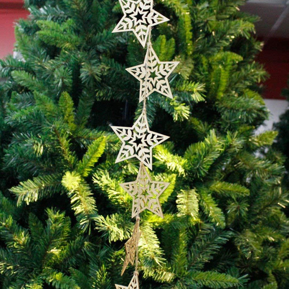 HOMDC New Year 10Pcs Christmas Wood Chip Tree Ornaments Xmas Hanging Pendant Decoration Gifts DIY Christmas Tree Decorations C