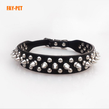 Supreme design germany dog collar leather studded rivet bling bling spiked large dog collar