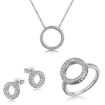 Bạc 925 cubic zirconia nhẫn trang sức bộ vòng cổ trung quốc