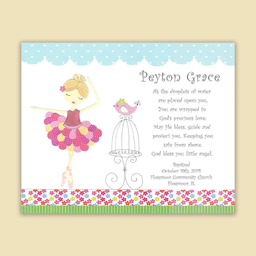 Baby Girl Baptism Gift - Christening Gift for Godchild - Pink and Rose Ballerina - Dancer - Pink Rose Green and Aqua - Nursery Art - Baptism Gift from Godparents - PRINT