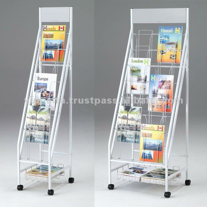 Japanese High Quality Display Rack, Brochure Stand with Storage Space