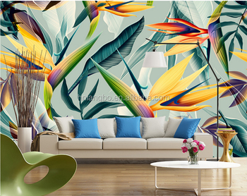 3D Stereo Hand Painted Tropical Jungle Colorful Leaf Mural Bedroom Hotel  Themed Restaurant Wallpaper Mural