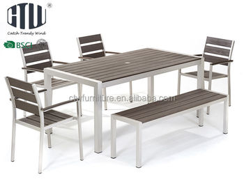 Aluminum Outdoor No Wood Dining Table With Bench Product On