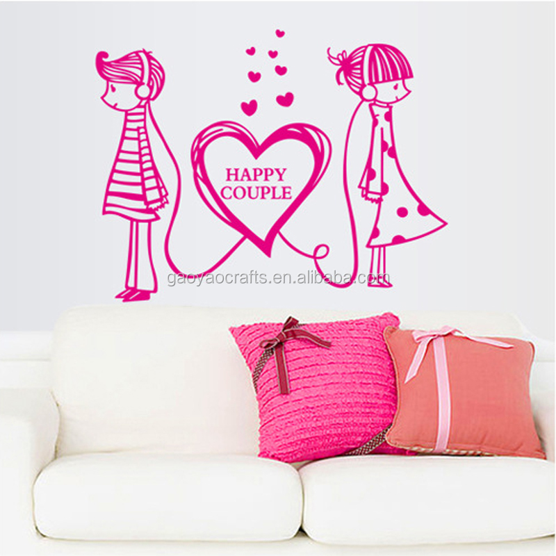 Happiness Couples Romantic Love Pvc Wall Stickers Cabinet Window ...