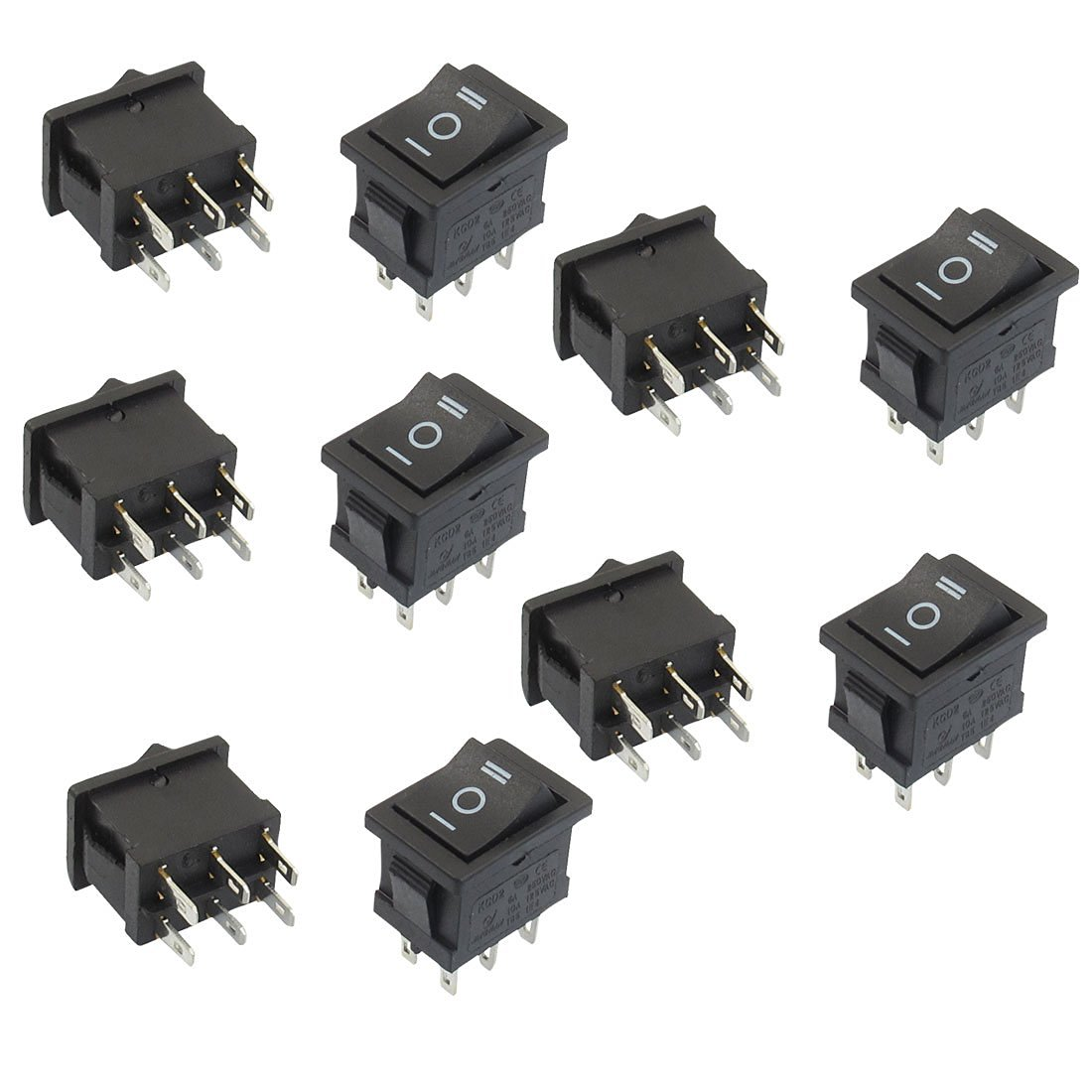 uxcell 10 Pcs DPDT Black Button On/Off/On Rocker Switch AC 6A/250V 10A/125V