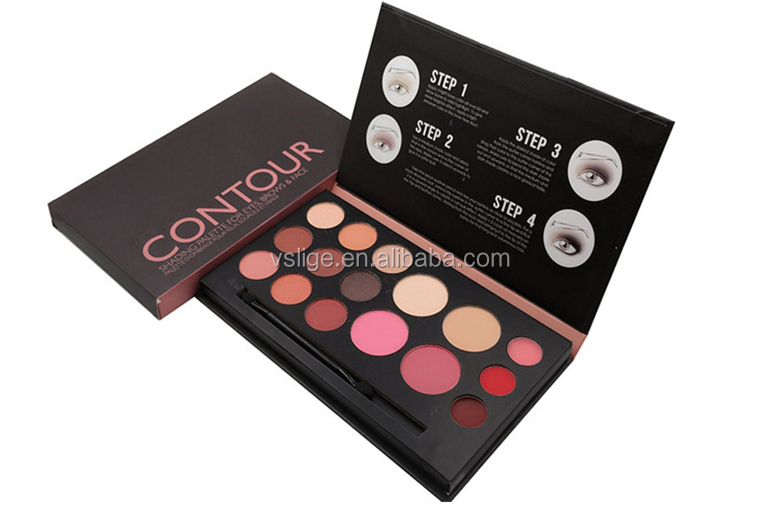 OEM/ODM Natural sliky colorful water proof eyeshadow palette blush pressed powder palette make your private logo eye kits