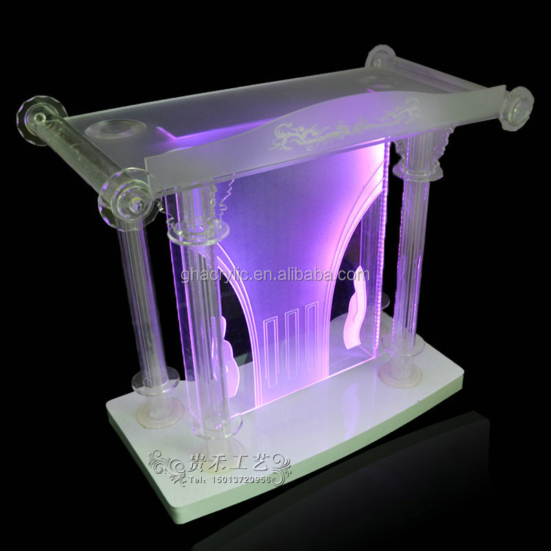 Gh-d012 Clear Organic Glass Church Pulpit Glass Pulpit Church ...