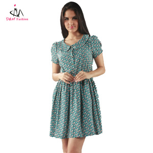2013 new arrival Mint Color Small Flower Printed Dress For Girl