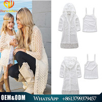 2017 European Style Family Clothing Set Lace Crochet Coat+Cotton Tank Top 2 Pcs Fashion Mother And Baby Clothes With Tassels