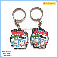 Promotion gifts 2D pvc rubber keychain with metal keyring