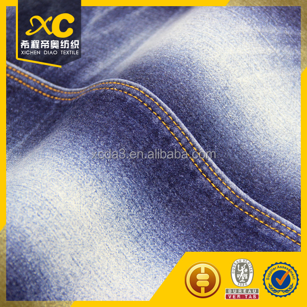 Basic blue poly twill fabric for Relaxed Straight jeans