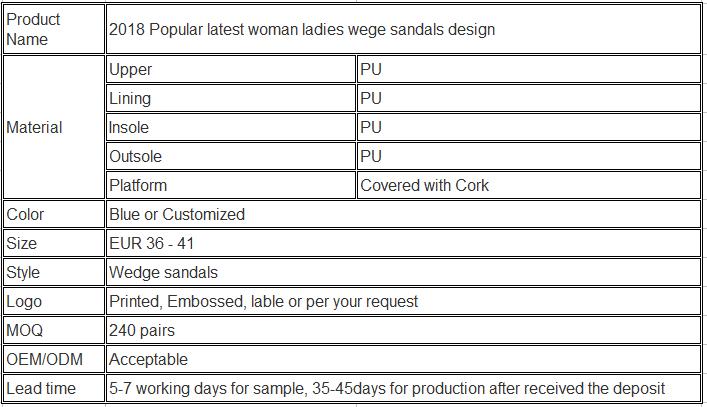 34cea4e3d2b81b Product Description. Size chart. Product Show. 2018 Popular latest woman  ladies wege sandals design