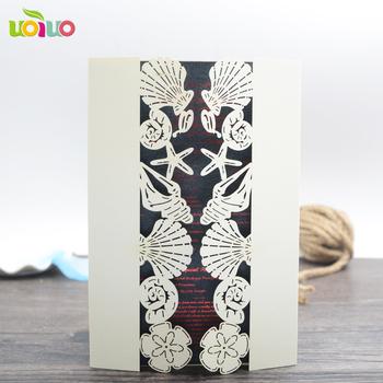 Simple Birthday Invitations Custom Laser Cut Seashell Wedding Invitation Card With Envelop
