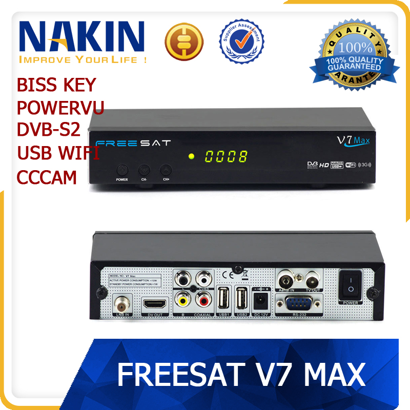 Original Freesat V7 Max wifi cccam dvb-s2 powervu biss key satellite receiver