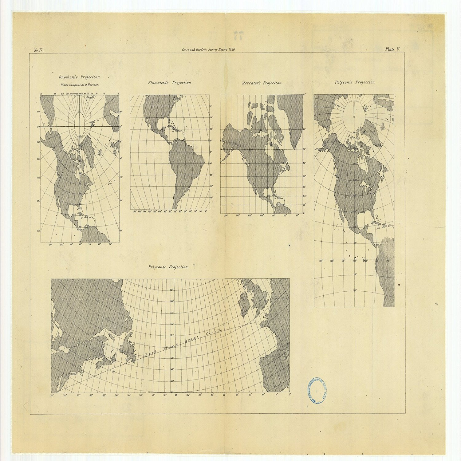 Vintography 8 x 12 inch 1880 US Old Nautical map Drawing Chart Gnomonic Projection Flamsteed's Projection, Mercator's Projection Polyconic Projections from US Coast & Geodetic Survey x6004