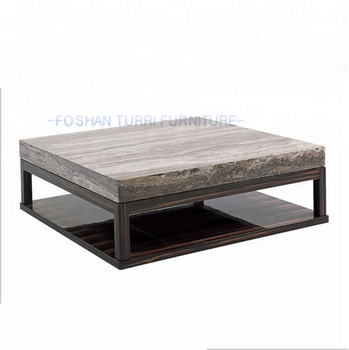 Italian Marble Top Wooden Coffee Table Design Marble