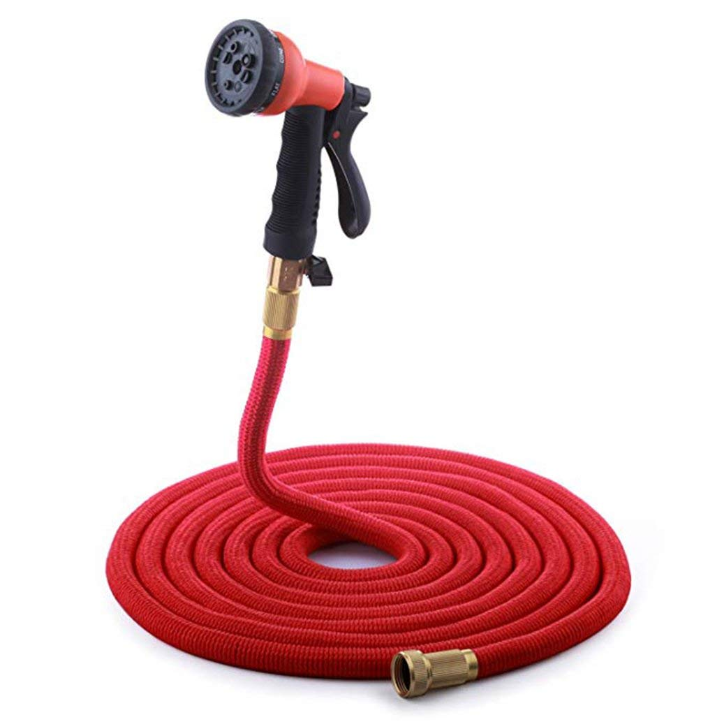 New 2018 Expandable Garden Hose - 75 FT Red - Siomentdi Super Stretch Material with Brass Connectors - Includes 8-Function High Pressure Water Gun for Heavy Commercial Use and Watering, Washing