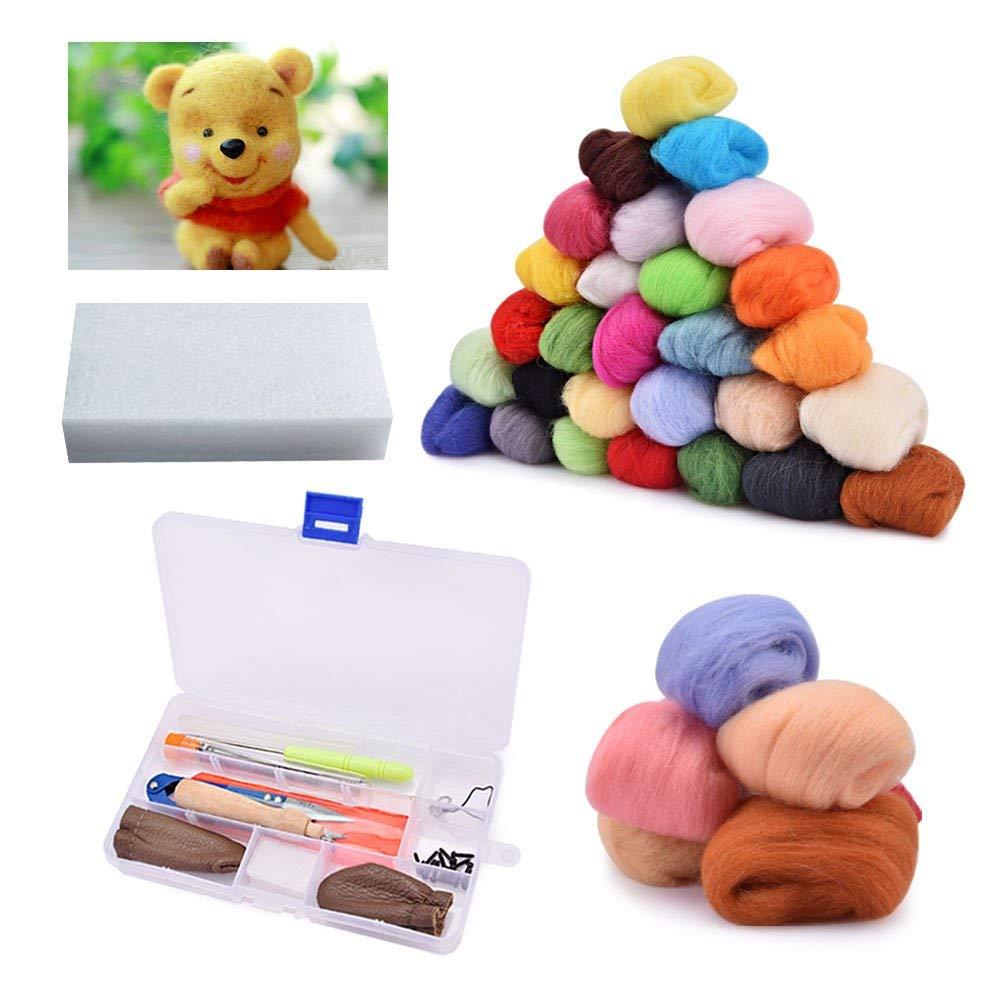 BASEIN Needle Felting Starter Kit Set, 36 Colors Wool Roving Felting Basic Kit Wool Felt Tools for Hand Spinning DIY Craft Projects